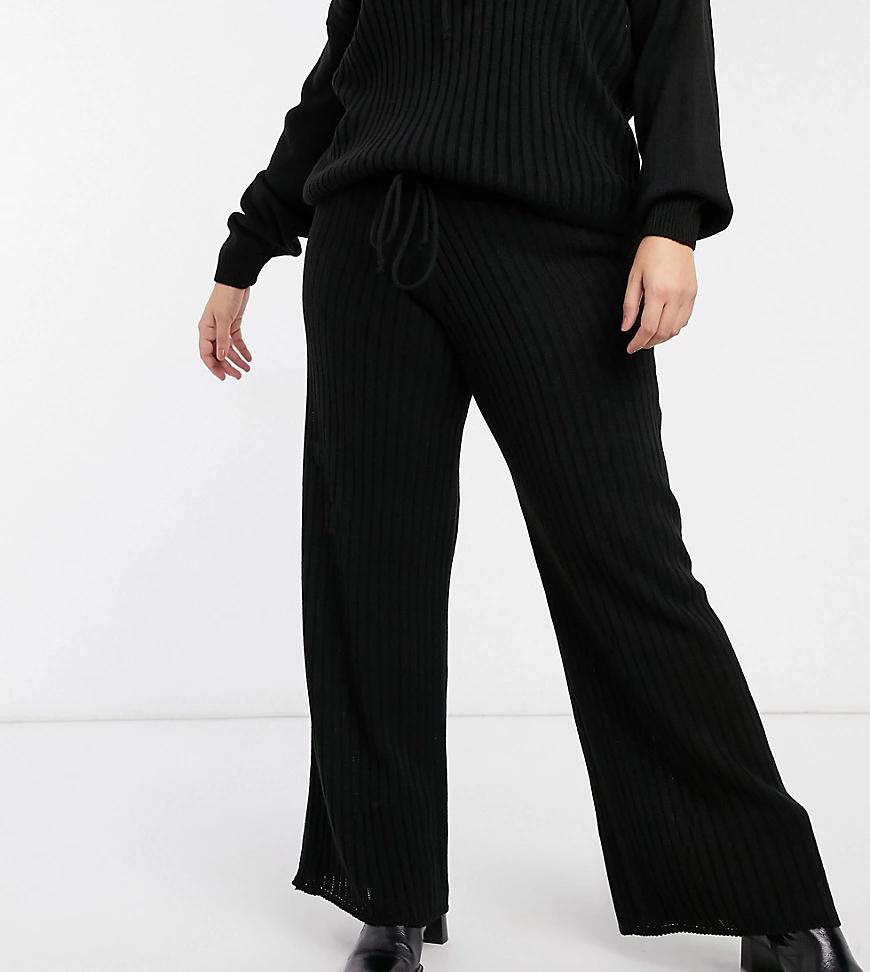 In The Style Plus   Черные широкие брюки в рубчик от комплекта In The Style Plus x Lorna Lихе-Черный цвет   Clouty