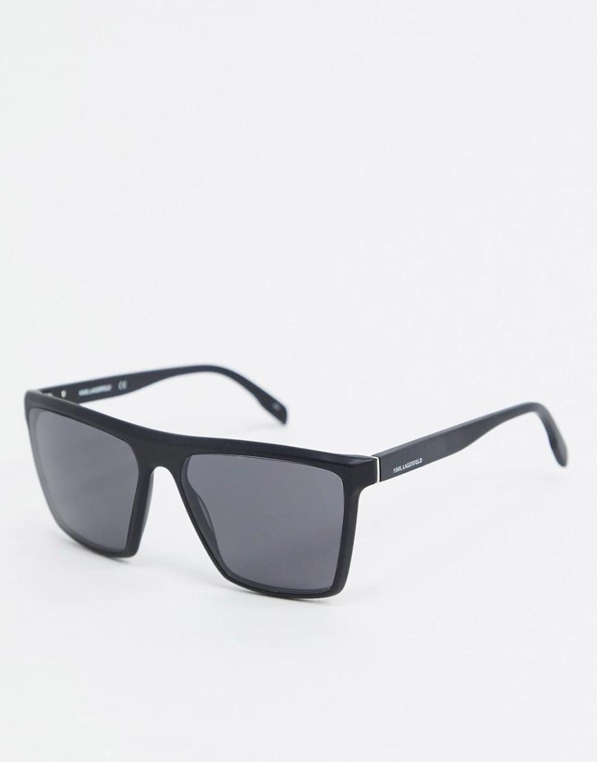 KARL LAGERFELD | Черные солнцезащитные очки в квадратной оправе Karl Lagerfeld Kreative-Чepный | Clouty