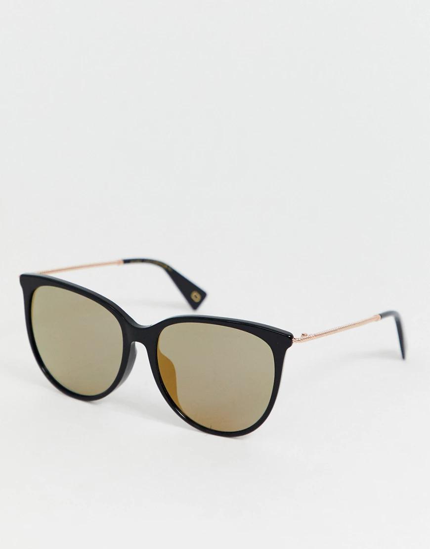 Marc Jacobs | Черные солнцезащитные очки в круглой оправе с зеркальными стеклами Marc Jacobs-Черный | Clouty