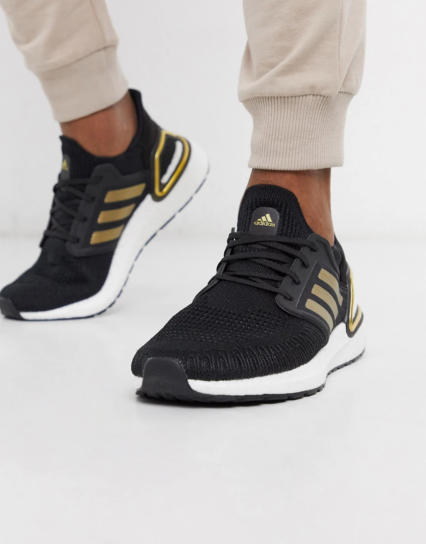 adidas | Черныекроссовкис золотистой отделкой adidas Ultraboost 20-Черный | Clouty