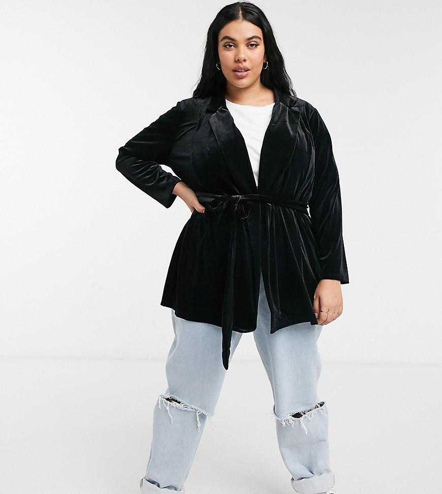 ASOS DESIGN | Черный бархатный пиджак с запахом ASOS DESIGN Сиrvе-Черный цвет | Clouty