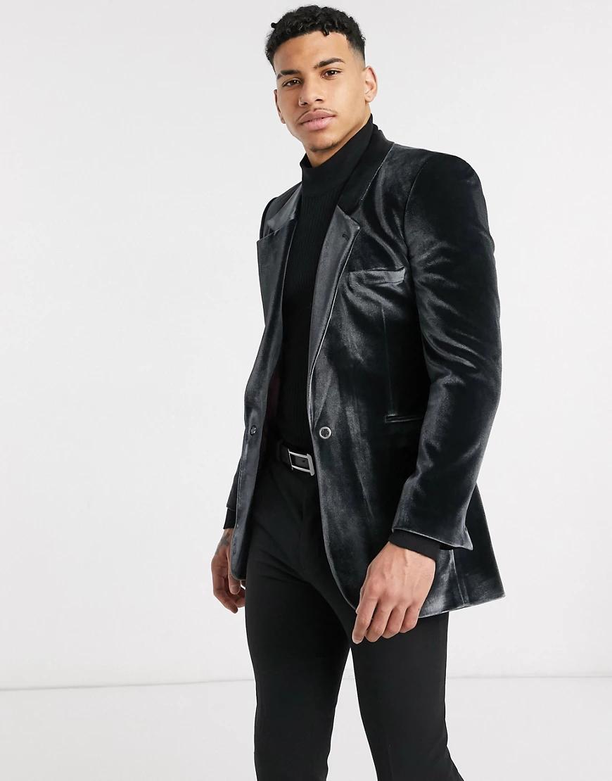 ASOS DESIGN | Черный бархатный пиджак скинни с люверсом ASOS DESIGN | Clouty