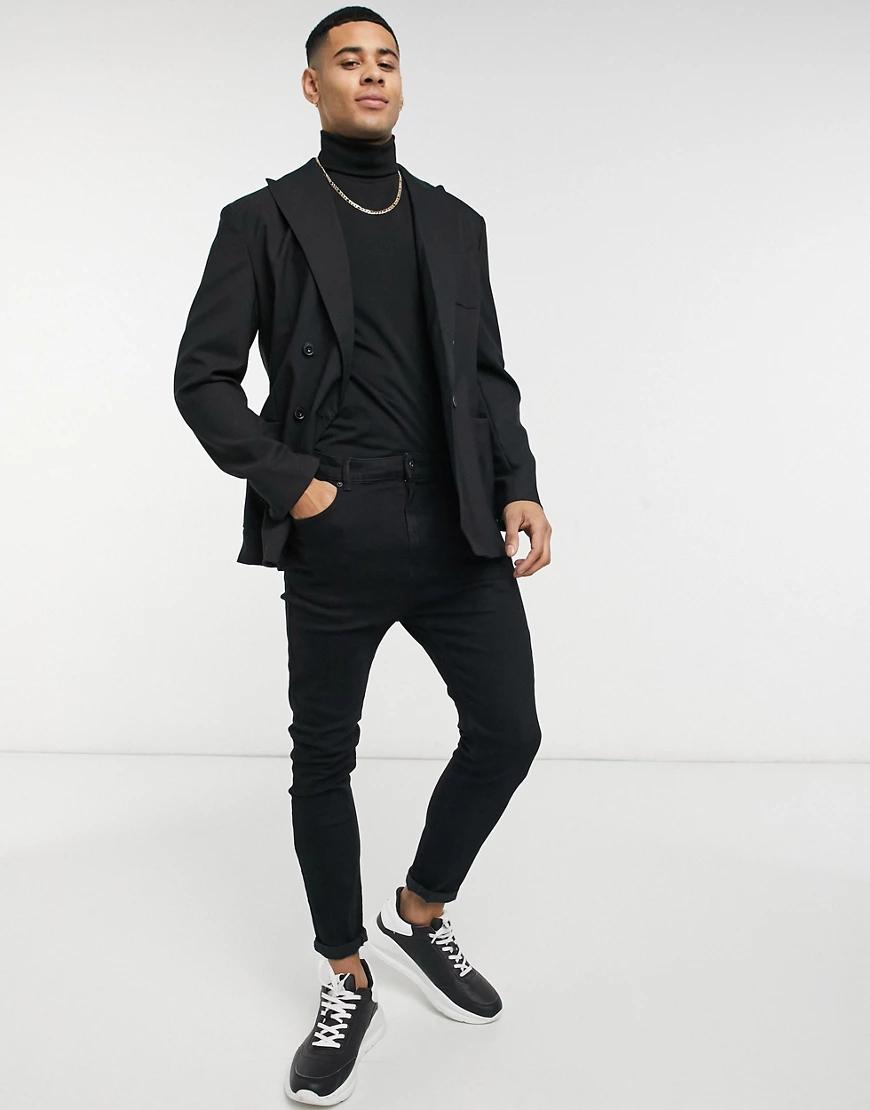 Selected Homme | Черный двубортный пиджак Selected Homme | Clouty