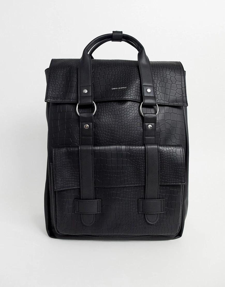 ASOS | Черный рюкзак из искусственной кожи с крокодиловым эффектом ASOS DESIGN | Clouty
