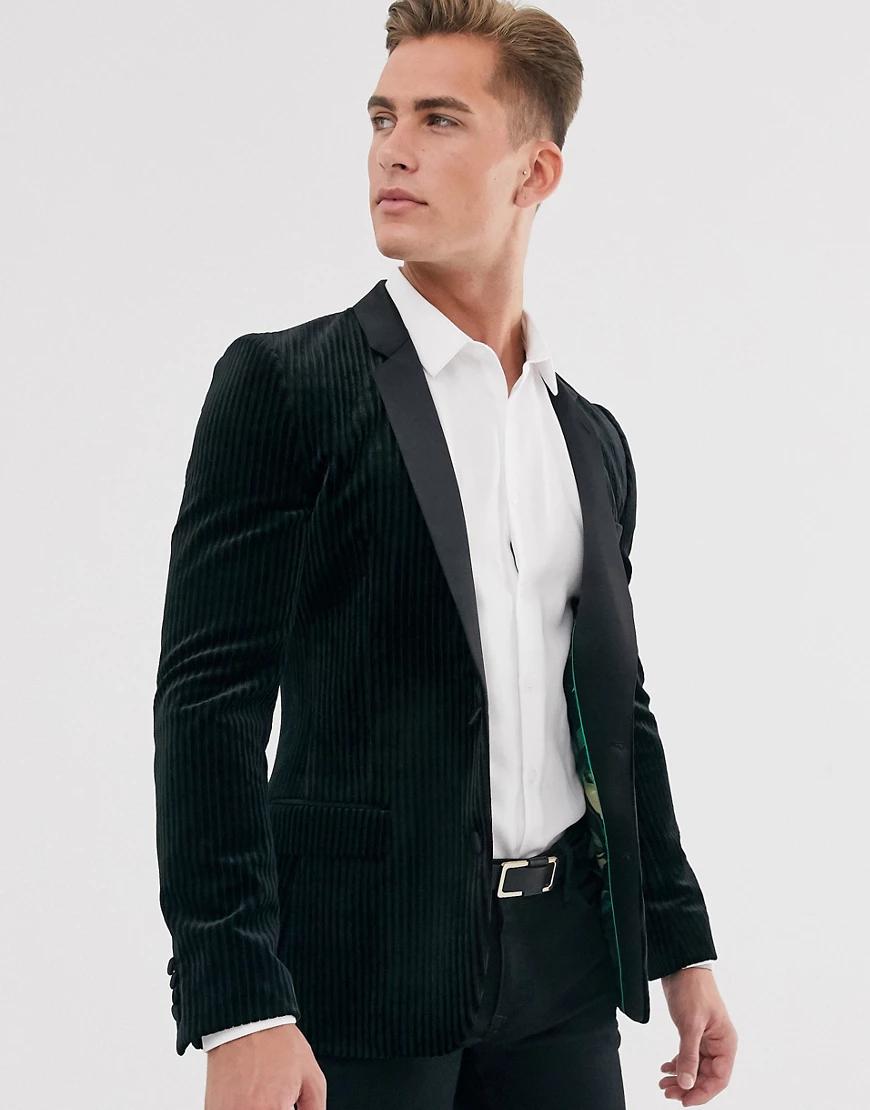ASOS DESIGN | Черный супероблегающий пиджак-смокинг из плиссированного бархата ASOS DESIGN | Clouty