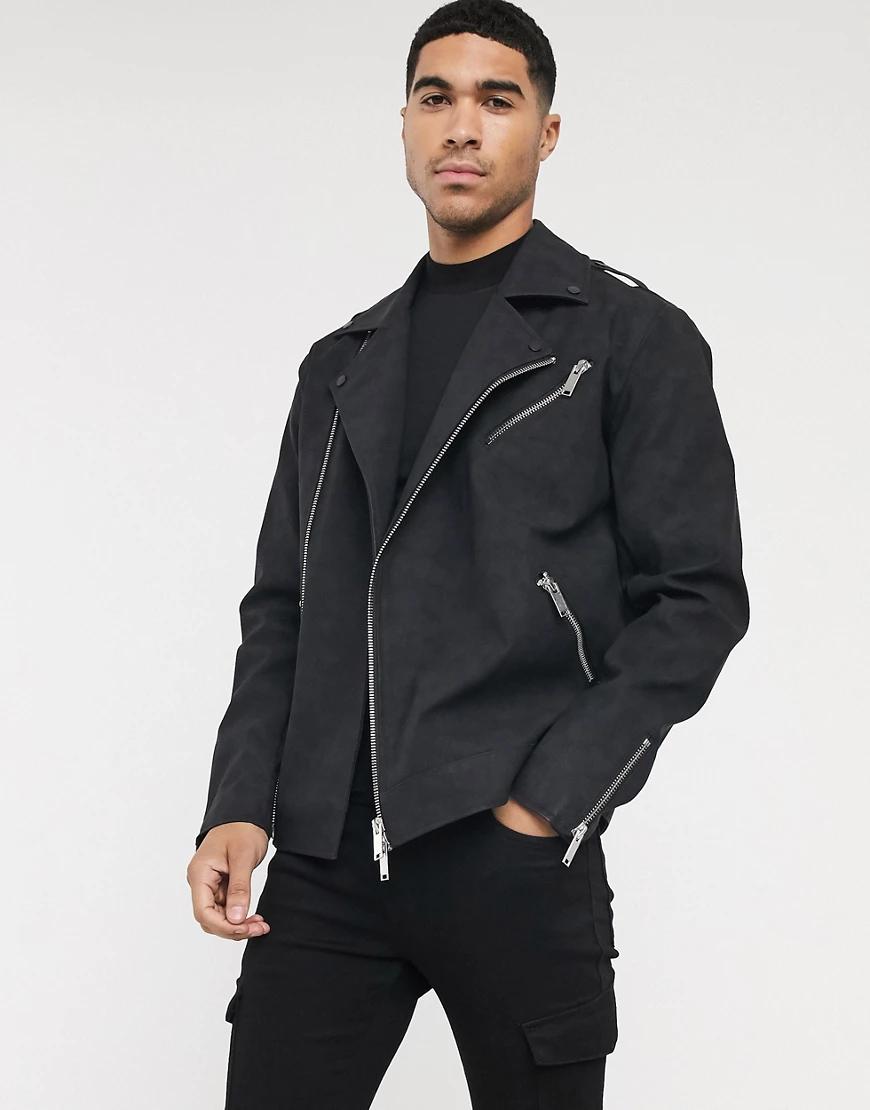 ASOS | Черная байкерская куртка из искусственной замши ASOS DESIGN-Черный | Clouty