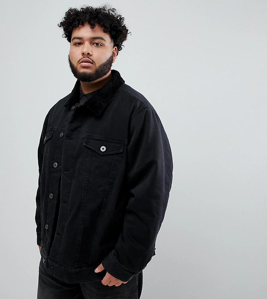 Replika | Черная джинсовая куртка с искусственным мехом на воротнике Replika Рlиs-Черный | Clouty