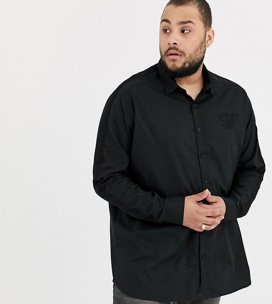 Duke | Черная эластичная рубашка с вышивкой на груди и лентой на рукавах Duke king sizе-Черный | Clouty