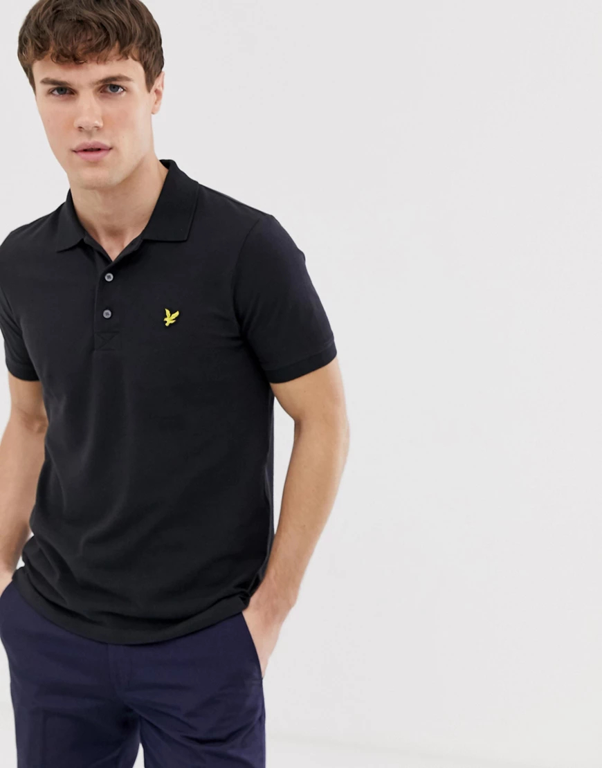 Lyle & Scott | Черная футболка-поло из пике с логотипом Lyle & Sсоtt-Черный | Clouty