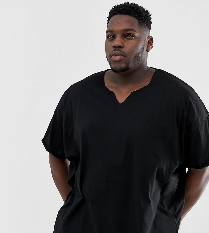 ASOS DESIGN | Черная oversize-футболка с разрезом ASOS DESIGN Рlиs-Черный | Clouty