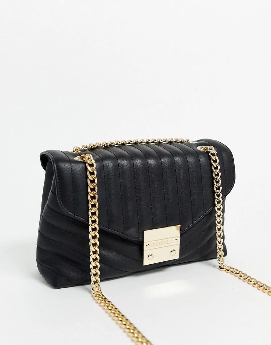 Carvela | Черная стеганая сумка через плечо с ручкой-цепочкой Carvela-Чepный | Clouty