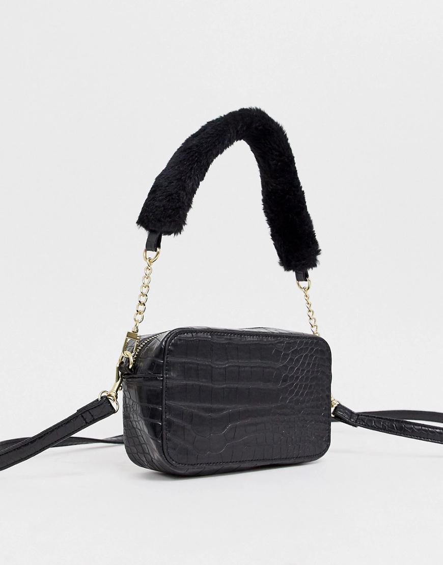 Chateau   Черная сумка на плечо с тиснением под крокодиловую кожу Chateau-Чepный   Clouty