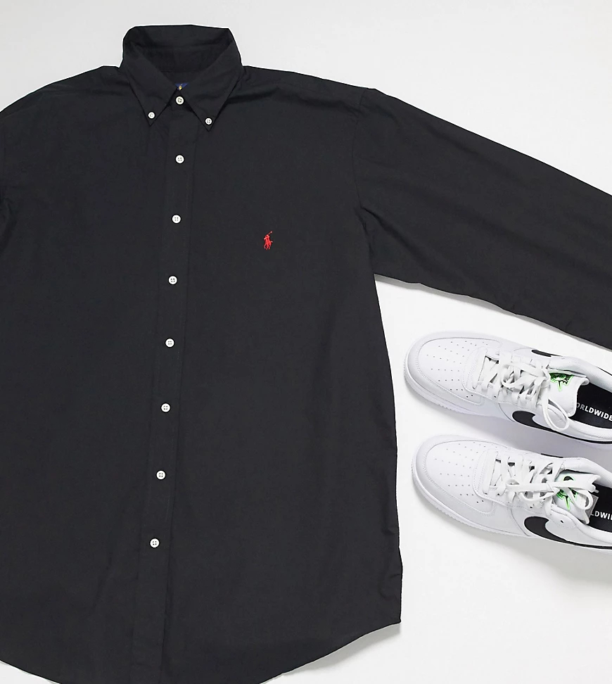 POLO RALPH LAUREN | Черная рубашка из пикес логотипом Polo Ralph Lauren Big & Таll-Черный | Clouty