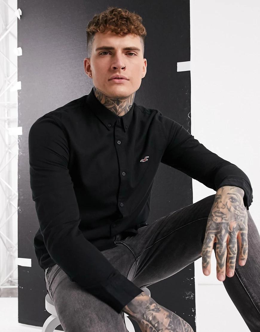 Hollister | Черная рубашка с длинными рукавами и логотипом Hollister-Чepный | Clouty