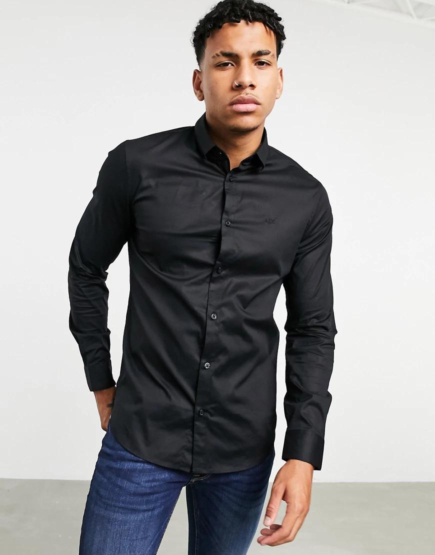 Armani Exchange | Черная рубашка узкого кроя с логотипом Armani Exchange-Чepный | Clouty