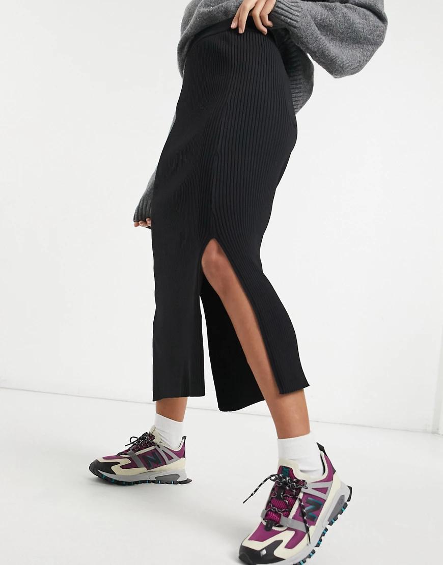 Weekday | Черная трикотажная юбка миди с разрезом Weekday Тиbе-Черный цвет | Clouty