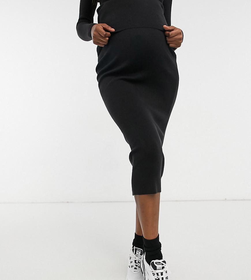 ASOS DESIGN | Черная трикотажная юбка с разрезом сбоку от комплекта ASOS DESIGN Maternity-Чepный | Clouty