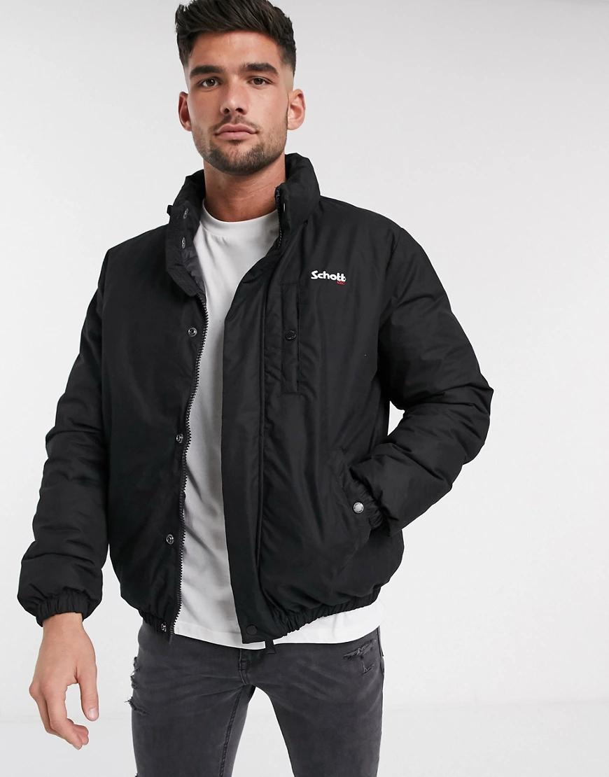 Schott NYC | Черная утепленная куртка узкого кроя Schott-Черный | Clouty