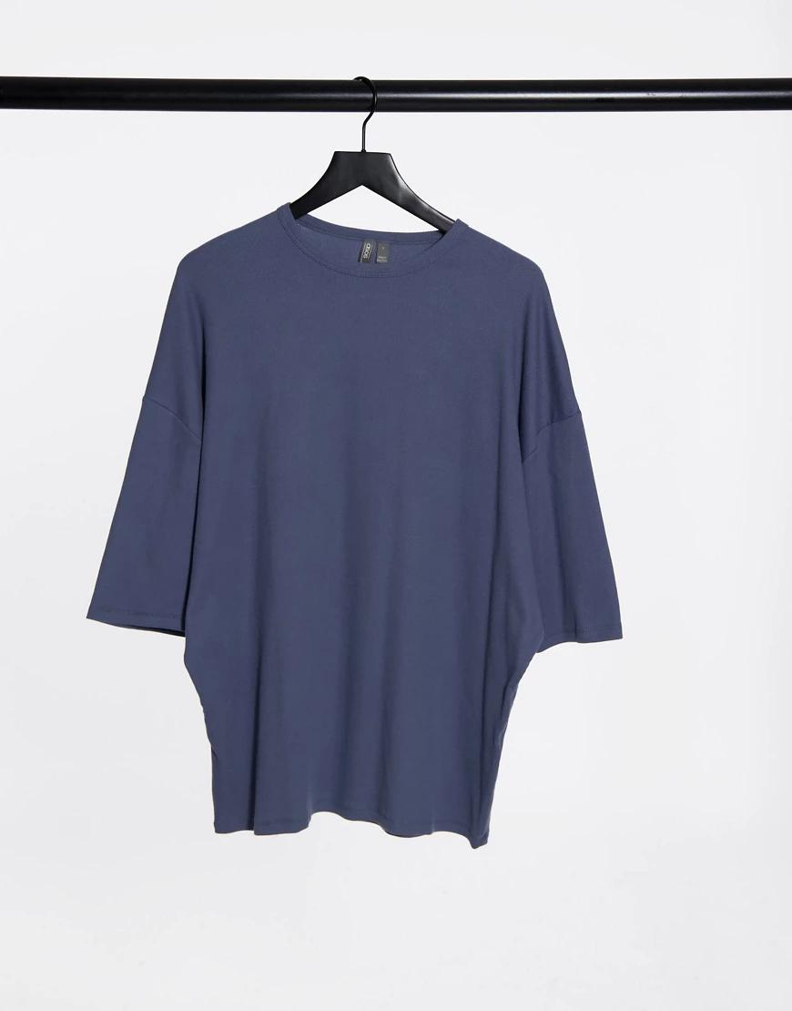 ASOS DESIGN | Черная выбеленная футболка свободного кроя в рубчик ASOS DESIGN-Cepый | Clouty