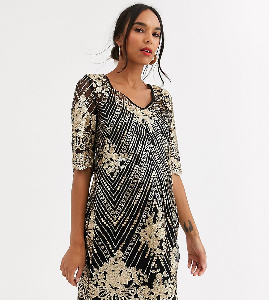 TFNC Maternity | Черно-золотистое платье миди TFNC Маtеrпitу-Многоцветный | Clouty