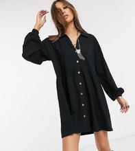 Фото Черное хлопковое платье-рубашка на пуговицах свободного кроя ASOS DESIGN Таll-Черный