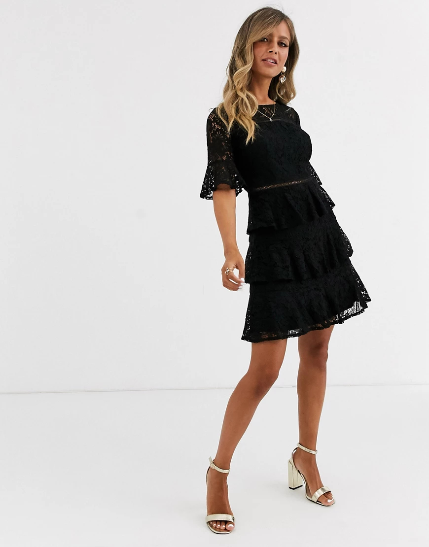 Little Mistress   Черное кружевное платье мини с оборками Little Mistress-Чepный   Clouty