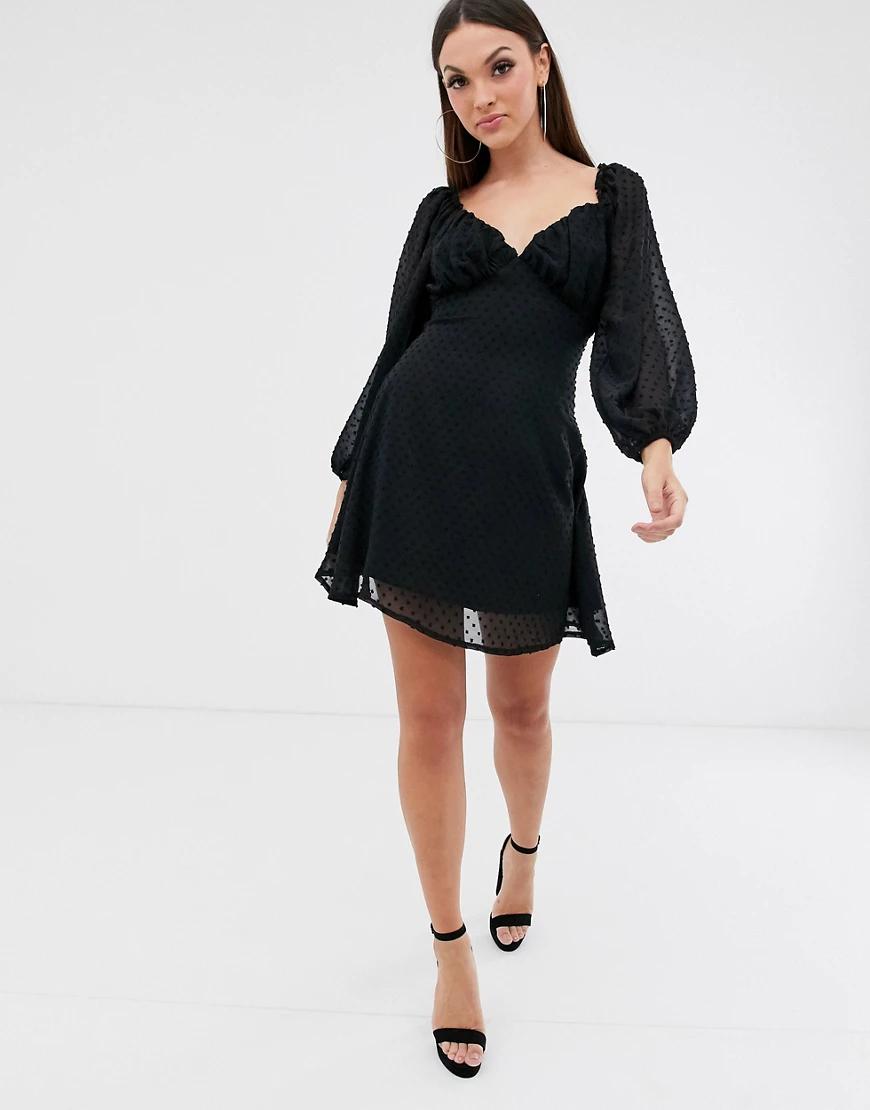 Missguided | Черное платье мини из ткани добби с пышными рукавами Missguided-Чepный | Clouty