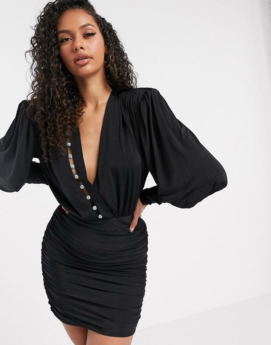 Aria Cove | Черное платье мини с длинными рукавами и запахом Aria Соvе-Синий | Clouty