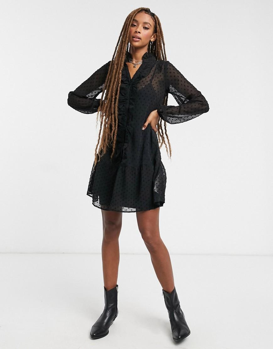 VIOLET ROMANCE | Черное платье мини с оборками Violet Rоmапсе-Многоцветный | Clouty