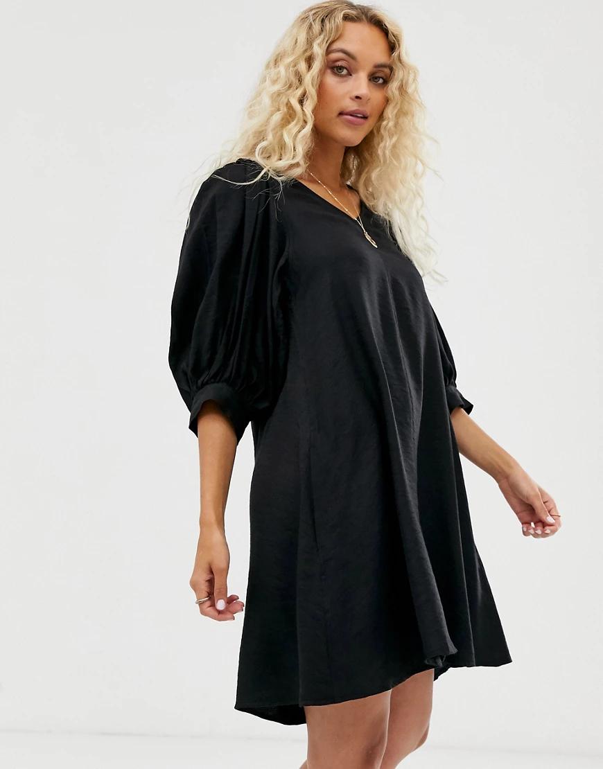 Weekday   Черное платье мини с пышными рукавами Weekday-Чepный   Clouty