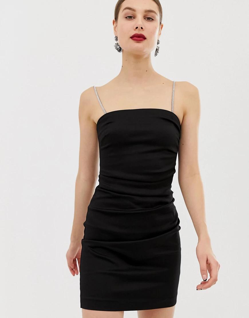 River Island | Черное платье мини с с отделкой стразами River Island-Черный | Clouty