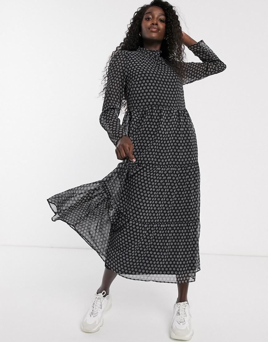 Pieces | Черное платье мидакси с абстрактным принтом Pieces-Черный | Clouty