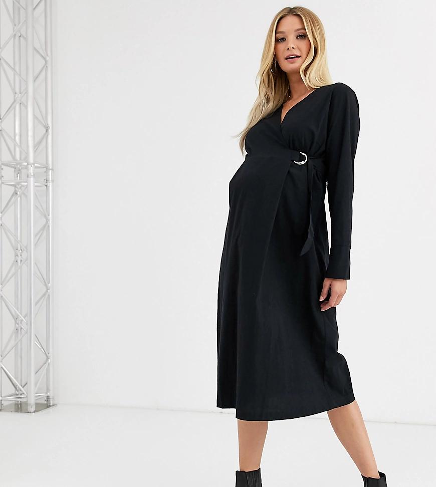 Mama Licious | Черное платье миди для беременных с запахом Mamalicious-Чepный | Clouty