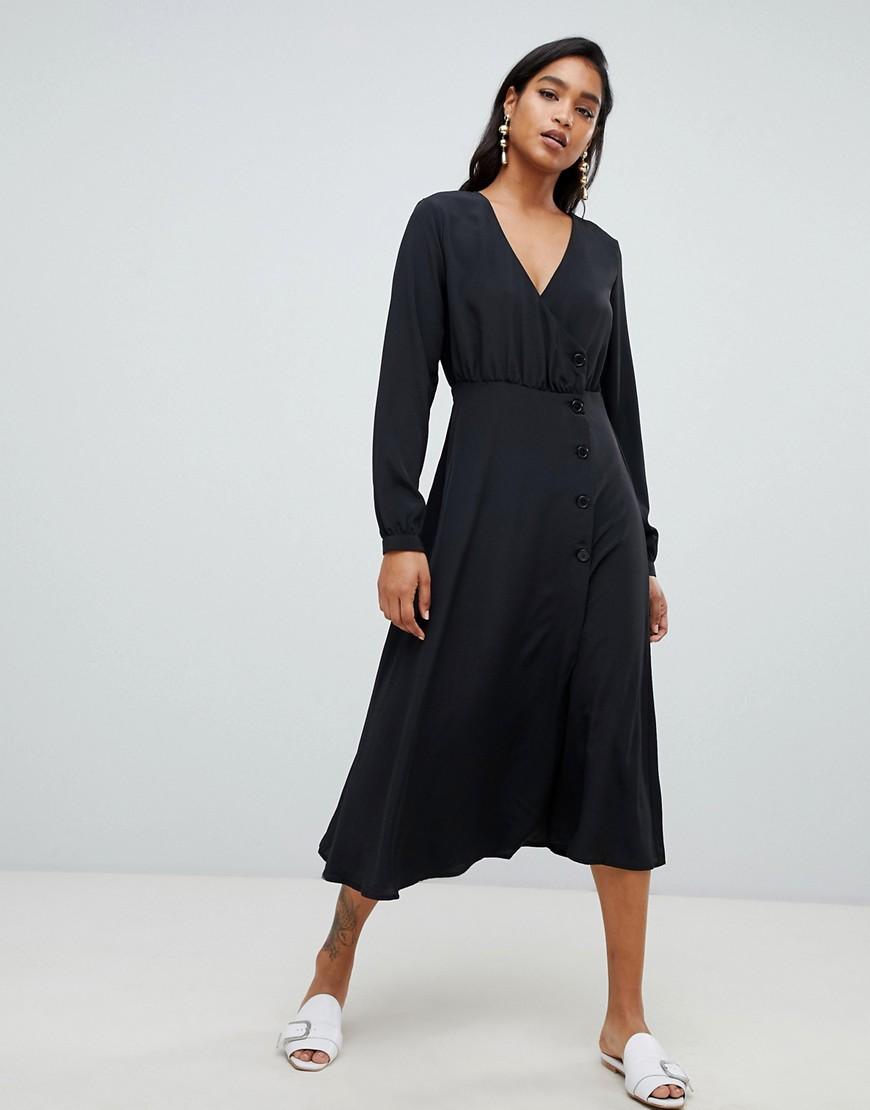 Vila | Черное платье миди с пуговицами сбоку Vilа-Черный | Clouty