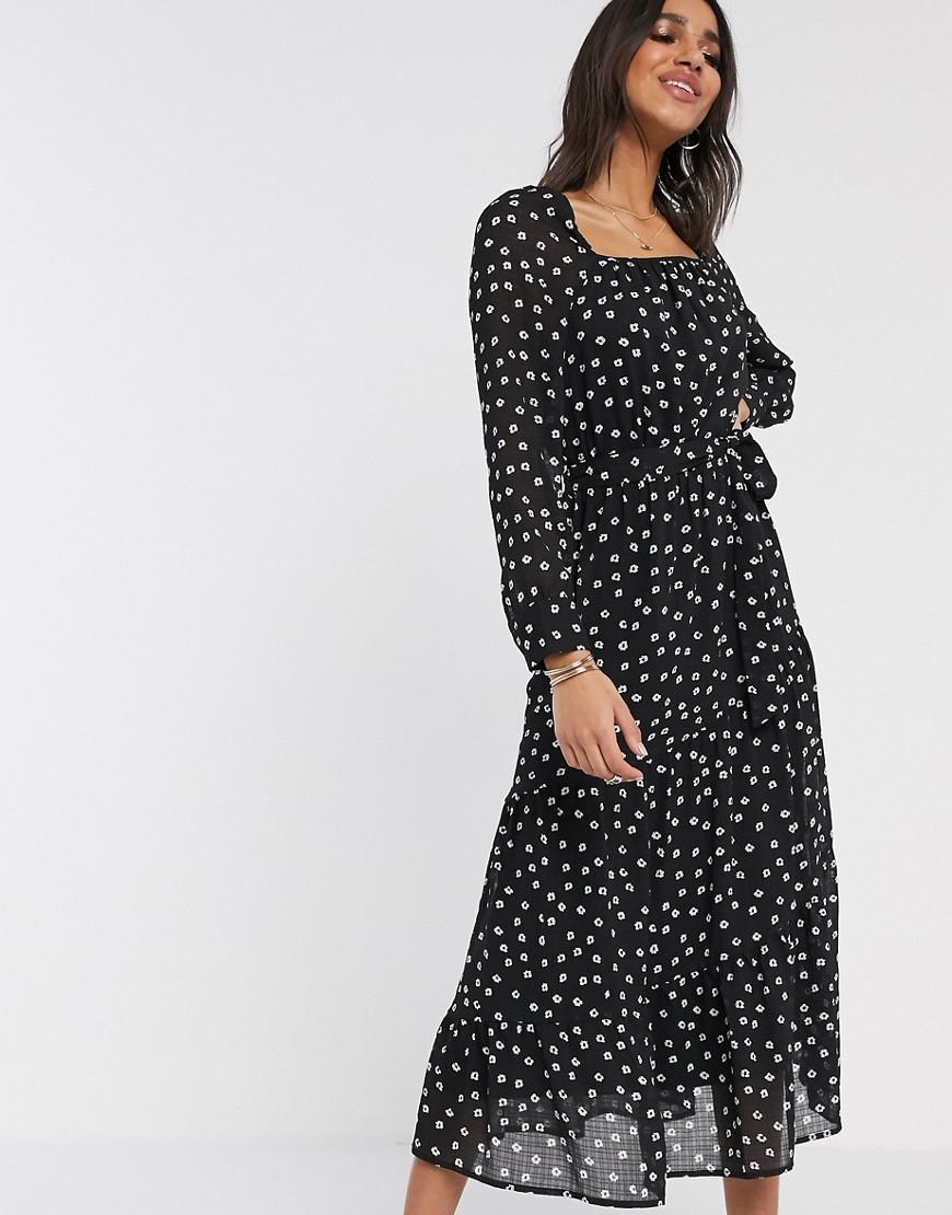 Y.A.S. | Черное платье миди с цветочным принтом Y.А.S-Мульти | Clouty