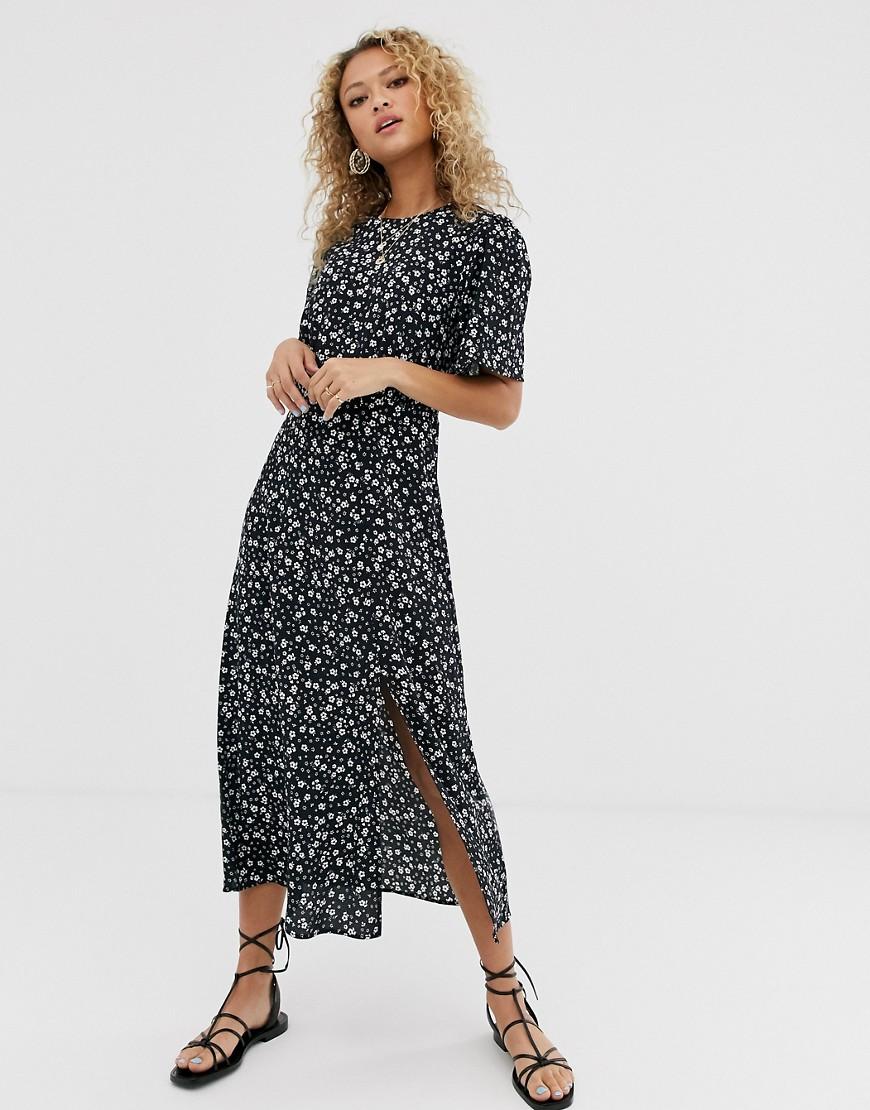 New Look | Черное платье миди с цветочным принтом New Lоок-Черный | Clouty