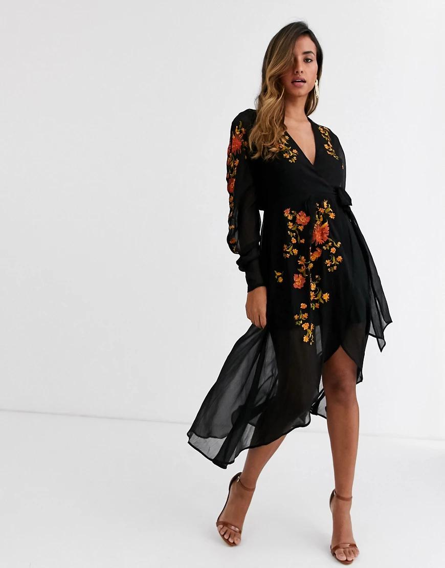 ASOS DESIGN | Черное платье миди с запахом и вышивкой ASOS DESIGN-Черный цвет | Clouty