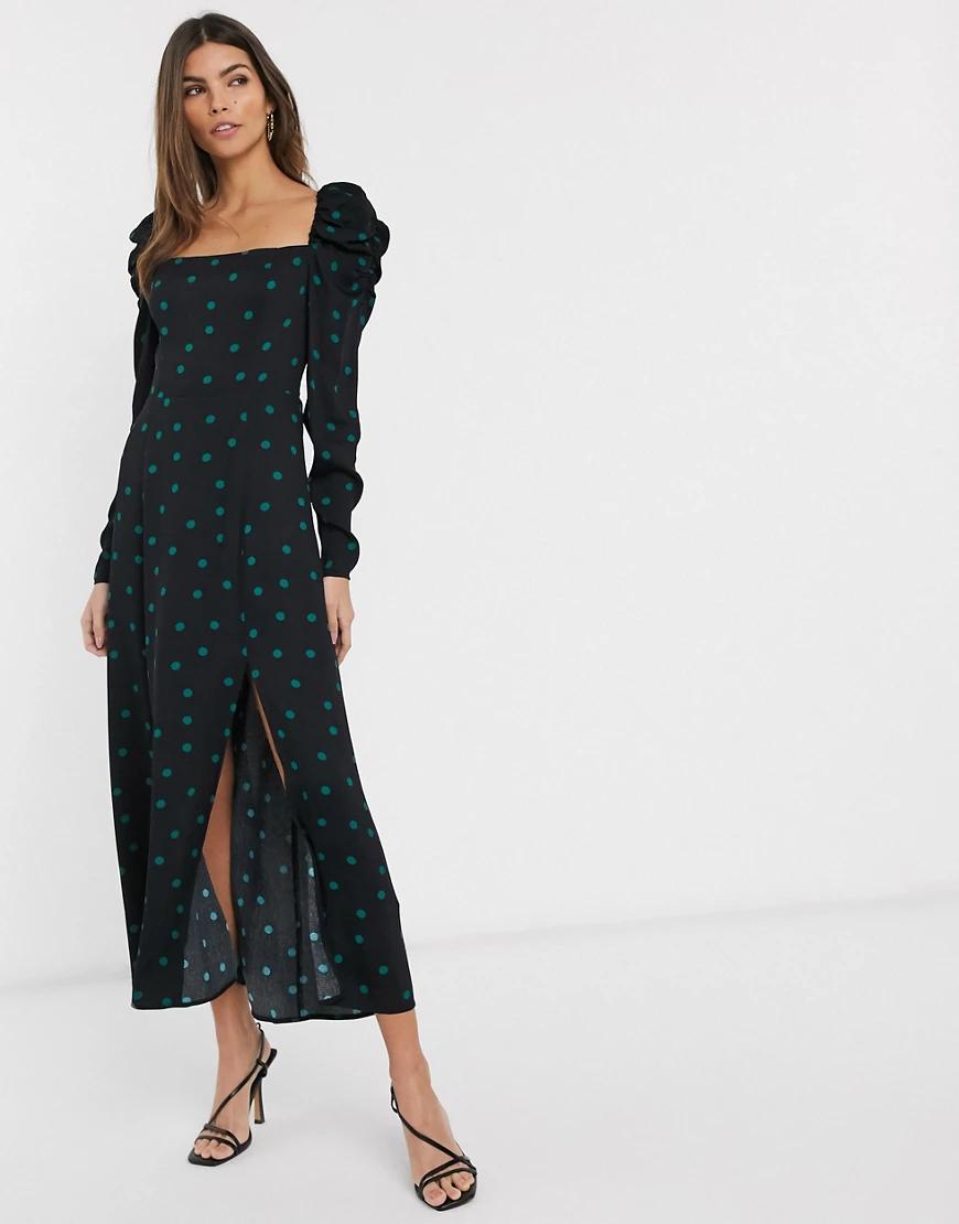 & Other Stories | Черное платье миди в горошек с пышными рукавами & Other Stories-Чepный | Clouty