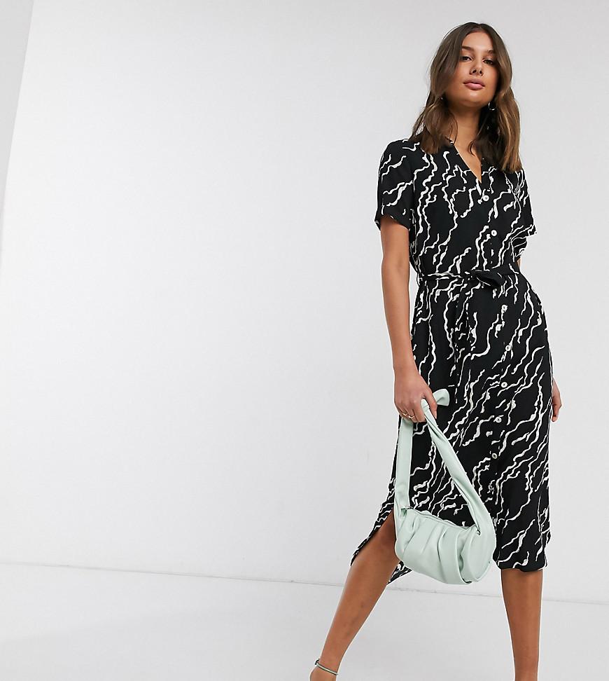VERO MODA | Черное платье-рубашка миди с принтом и поясом Vero Moda Таll-Мульти | Clouty