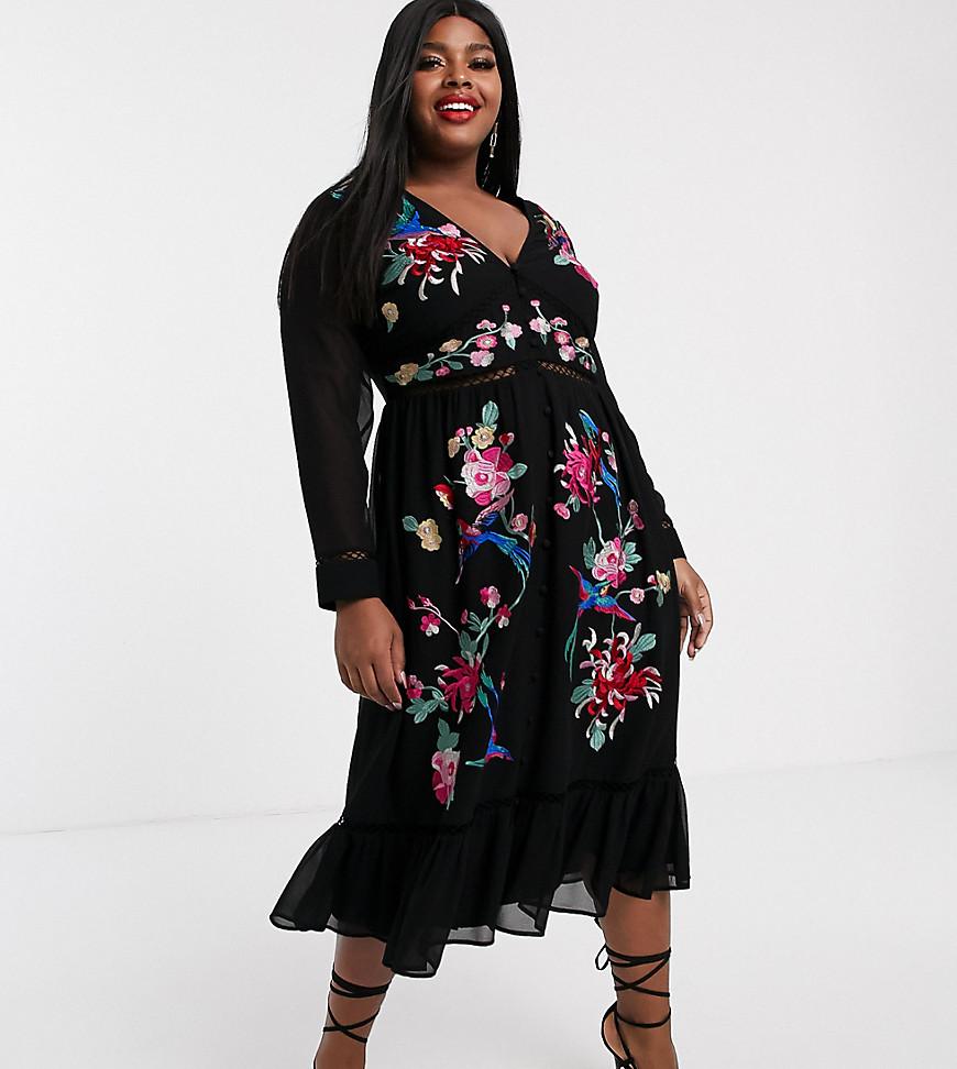 ASOS DESIGN | Черное приталенное платье миди с кружевной отделкой и вышивкой ASOS DESIGN Сиrvе-Черный | Clouty