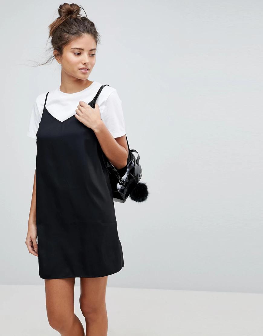ASOS DESIGN | Черноеплатье-комбинацияминидля груди большого размера ASOS DESIGN-Черный цвет | Clouty