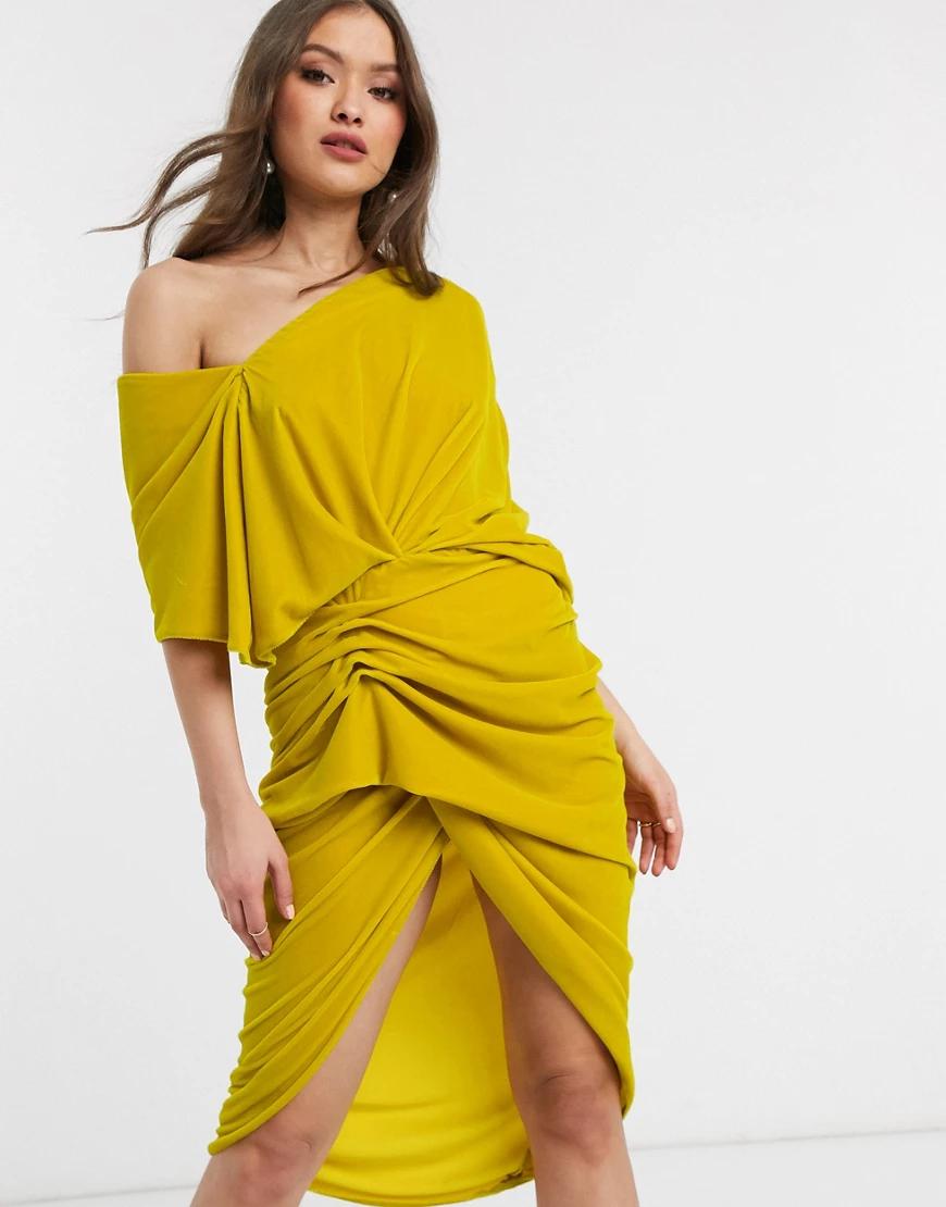 ASOS   Асимметричное бархатное платье миди с драпировкой ASOS EDITION-Жeлтый   Clouty