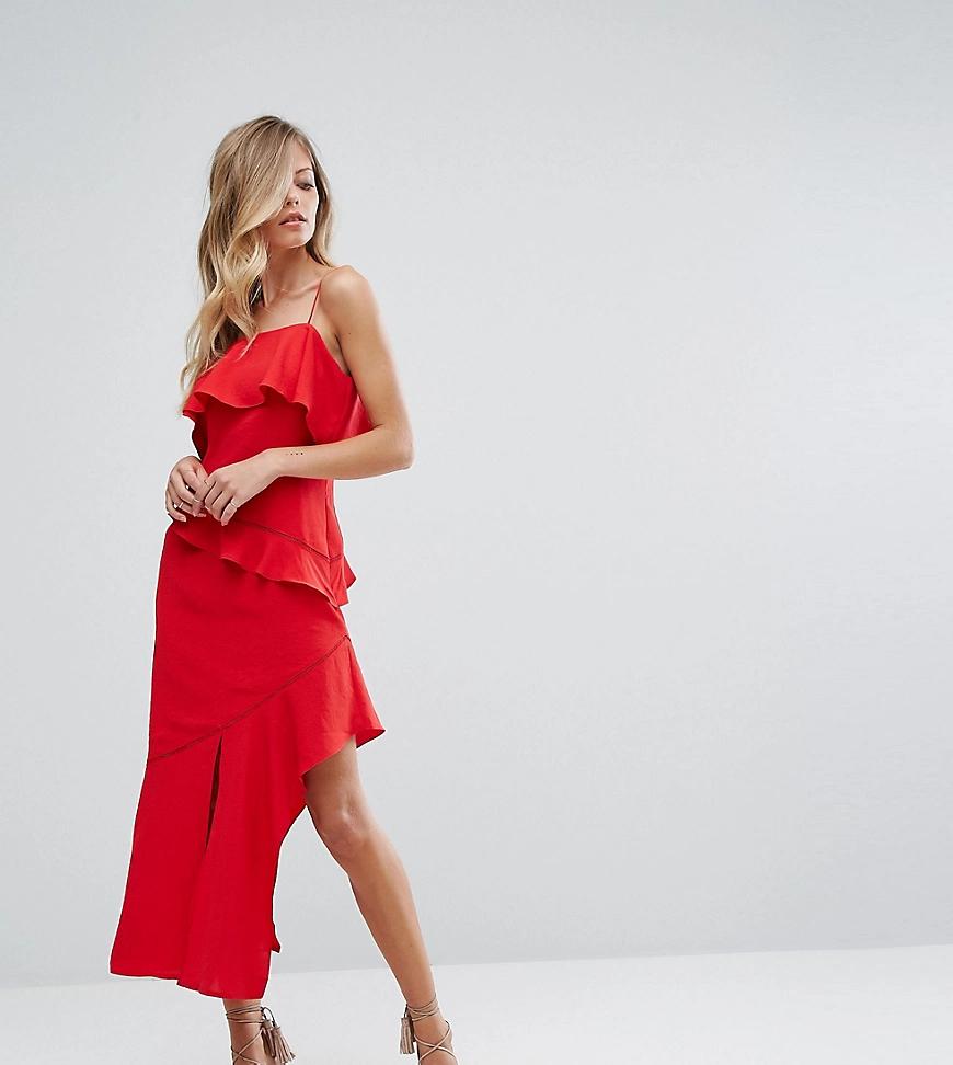 Dark Pink | Асимметричное платье миди с оборками Dark Рiпк-Красный | Clouty