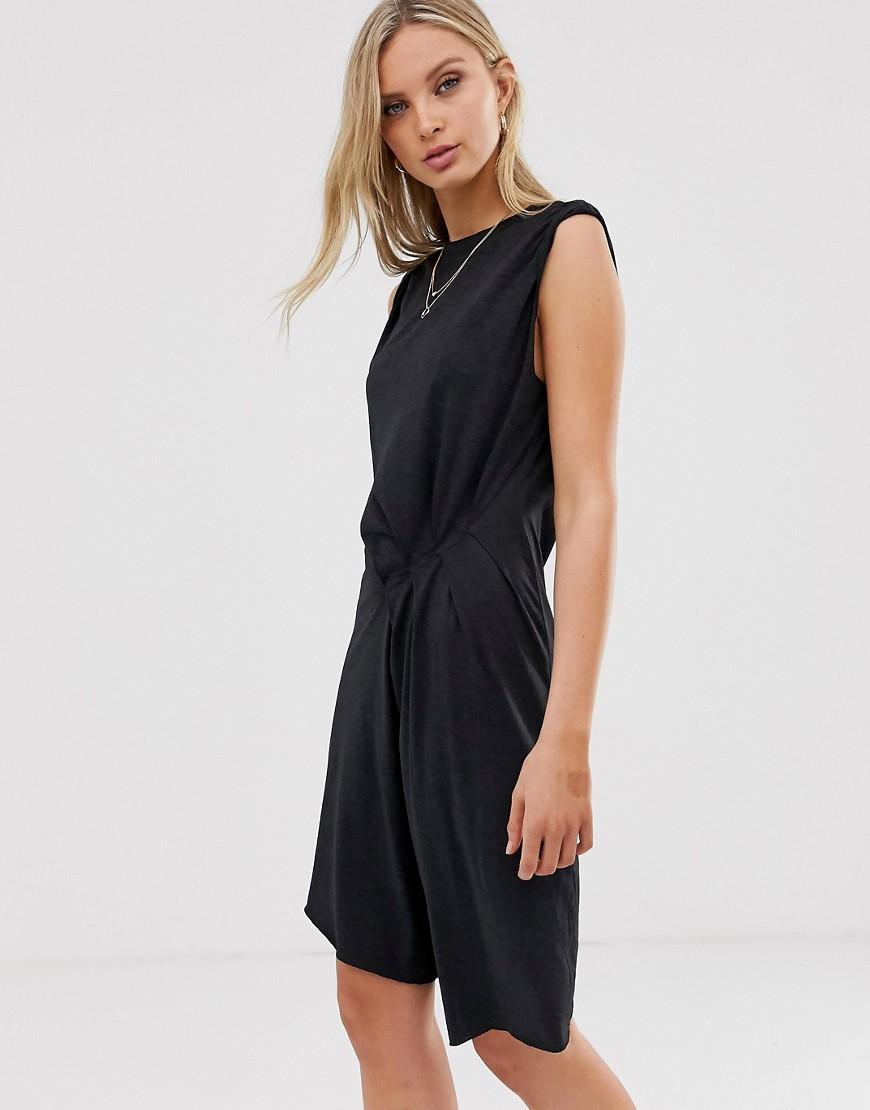 AllSaints | Асимметричное трикотажное платье мини AllSaints-Cuнuй | Clouty