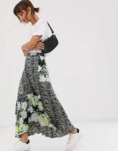Фото Атласная плиссированная юбка миди с зебровым и цветочным принтом ASOS DESIGN-Мульти