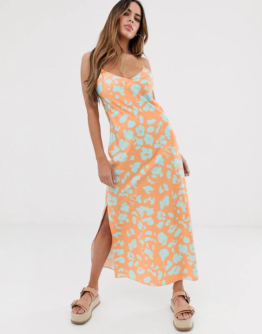 ASOS DESIGN | Атласное платье-комбинация макси с ярким абстрактным принтом ASOS DESIGN-Мульти | Clouty