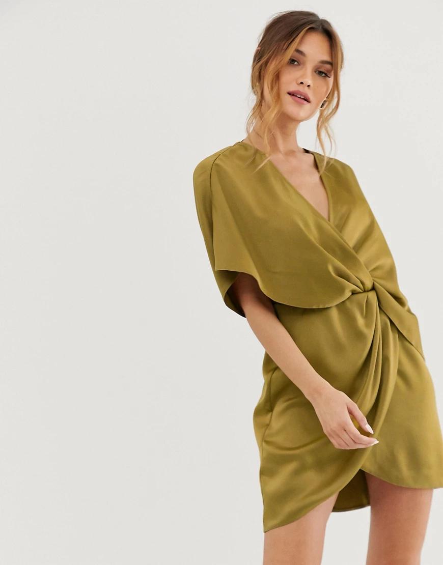 ASOS DESIGN   Атласное платье-кимоно мини с узелком и асимметричными рукавами ASOS DЕSIGN-Бежевый   Clouty