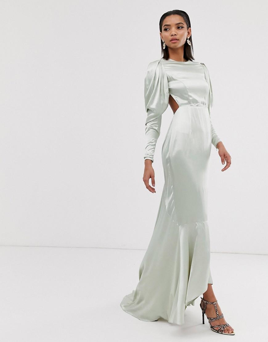 ASOS | Атласное платье макси со шлейфом и пышными рукавами ASOS EDITION-Зеленый | Clouty
