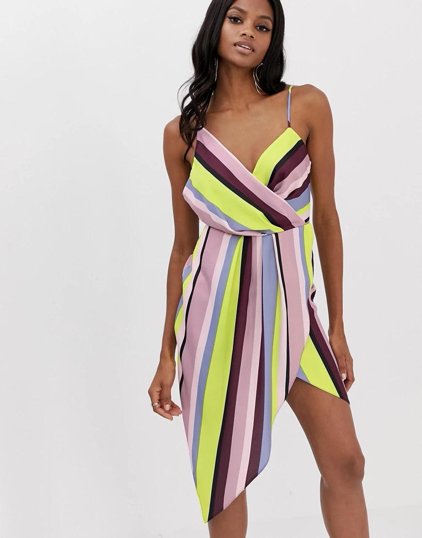 ASOS DESIGN | Атласное платье миди в полоску с драпировкой ASOS DESIGN-Мульти | Clouty