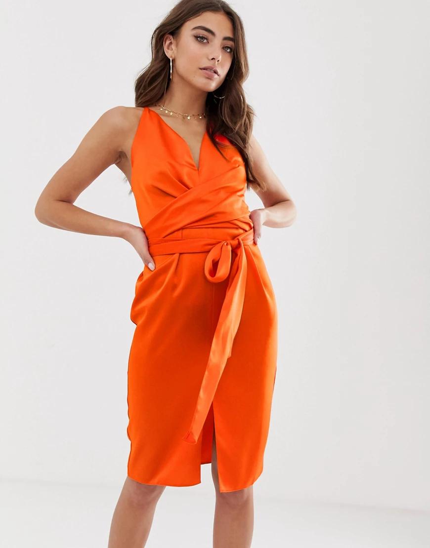 ASOS DESIGN | Атласное платье миди на бретельках с запахом ASOS DЕSIGN-Оранжевый | Clouty